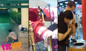 Nasty Chinese poop and pee in public in Singapore